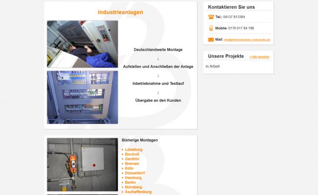 Internetseite-referenz-'Elektrotechnik von Brandis – Industrieanlagen'