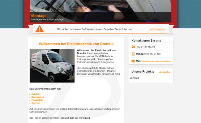 Internetseite-referenz-'Elektrotechnik von Brandis – Startseite'