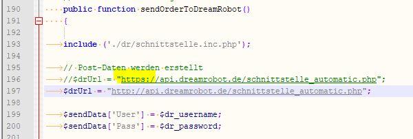 Dream Robot Schnittstelle
