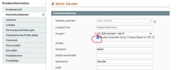 Magento 1.9 Bug – Disable automatic Group Change based on VAT ID funktioniert nicht – Standardeinstellung/default wird ignoriert