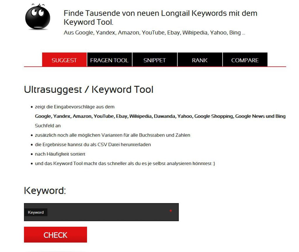 Tool für Keyword Recherche Ultrasuggest