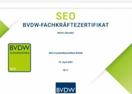 SEO-Fachkräftezertifikat BVDW