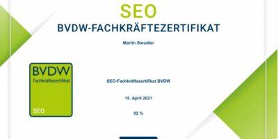 SEO BVDW-Fachkräftezertifikat bestanden – Zertifizieruung vom Bundesverband Digitale Wirtschaft (BVDW) e.V. für SEO Berater