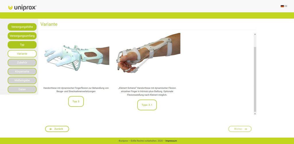Orthesen Konfigurator Webentwicklung