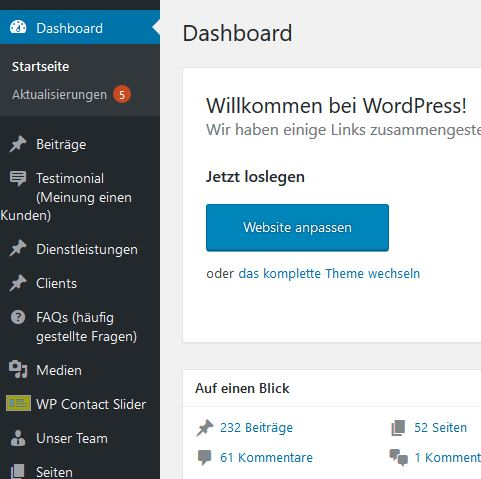 Wordpress Betreuung Admin Bereich